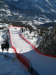 Looking down along the 'scuss' chute on Cortina's Olympia delle Tofane race course.