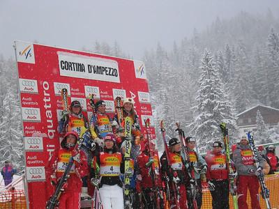 Award presentation of the super G top racers at Cortina, ITA
