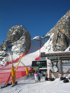 Looking up through the 'scuss' chute on Cortina's Olympia delle Tofane race course.