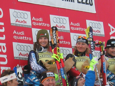 Olympic Valley's Julia Mancuso at awards presentation in the finish of the Cortina downhill (Jan. 28, 2006)