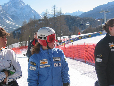 Truckee's Stacey Cook watches the final racers at downhill training in Cortina, ITA (Jan. 24, 2006)