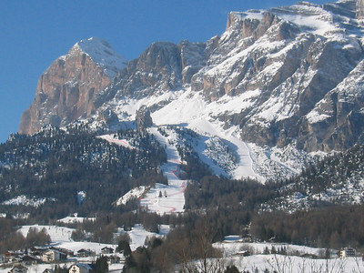 Cortina's Olympia delle Tofane race course from town