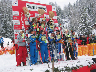 The top-10 finishers of the Cortina downhill. Julia Mancuso took second place and Lindsey Kildow ninth (Jan. 28, 2006)