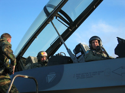D. Rahlves and Lt. Col. Curt Hughes get ready for take off.