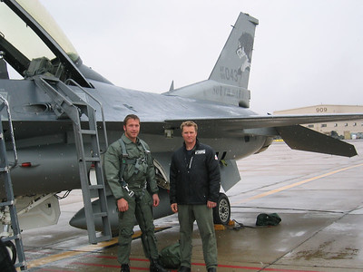 B. Miller and D. Rahlves in front of F-16