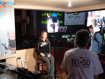 Julia Manco (Olympic Valley, CA) does a live satellite interview for ESPN News. Credit: ATC for USSA