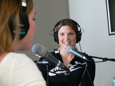 Olympic gold medalist Julia Mancuso LIVE on Sirius Sattellite radio's Cosmo Girl show. Credit: ATC for USSA