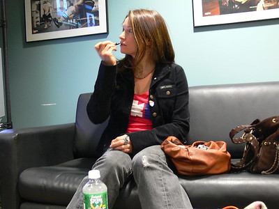 Julia Mancuso (Olympic Valley, CA) puts on the final touches for her media apperances in New York City. Credit: ATC for USSA