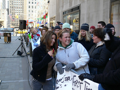 Olympic gold medalists Julia Mancuso (Olympic Valley, CA) visits with fans at the set of the Today Show. Credit: ATC for USSA