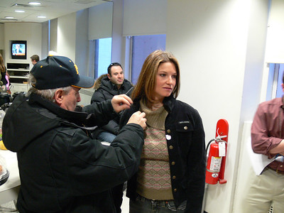 Olympic gold medalists Julia Mancuso (Olympic Valley, CA) gets mic ready for the Today Show. Credit: ATC for USSA