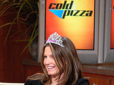 Olympic gold medalist Julia Mancuso demos her tiara for ESPN's Cold Pizza. Credit: ATC for USSA