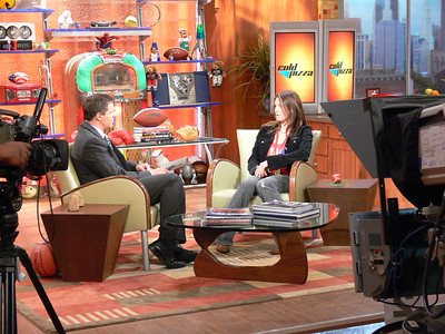 Olympic gold medalist Julia Mancuso is interviewed by Jay Crawford on the set of ESPN's Cold Pizza. Credit: ATC for USSA