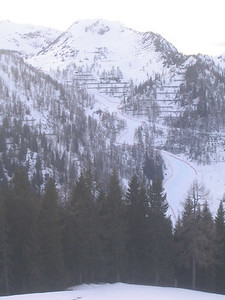 A partial view of the long downhill course from across the Zauchensee valley (credit: USSA)