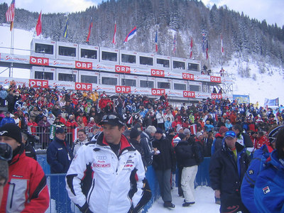 Fans pack the stands prior to the cancellation of Friday's downhill (credit: USSA)