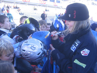 Lindsey Kildow signs autographs in the finish area (credit: USSA)