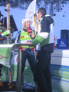 Julia Mancuso does a live interview with broadcaster ORF moments after finishing third in Zauchensee (credit: USSA)
