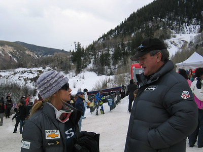 A good start - Julia Mancuso (Olympic Valley, CA) and U.S. Ski Team President and CEO Bill Marolt review the opening day race at the Sirius Satellite Radio Aspen Winternational (Nov. 25)