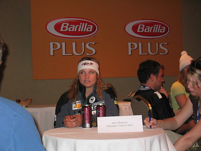 Olympic GS champion Julia Mancuso (Olympic Valley, CA) answers questions from the media the day before the Sirius Satellite Radio Aspen Winternational races (Nov. 24, 2006)