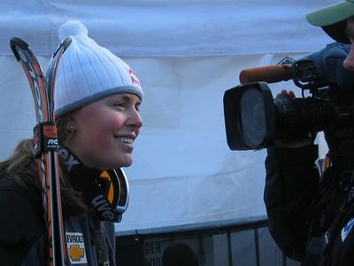 Lindsey Kildow talks with the media at the Sirius Satellite Radio Aspen Winternational (Nov. 26)