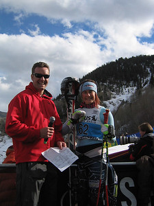 2002 Olympic snowboard bronze medalist Chris Klug (Aspen, CO) interviews Resi Stiegler (Jackson Hole, WY) in the finish at the Sirius Satellite Radio Aspen Winternational  GS race (Nov. 25)