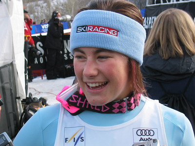 Olympian Resi Stiegler (Jackson Hole, WY) smiles in the finish after a fast second run at the Sirius Satellite Radio Aspen Winternational GS (Nov. 25)