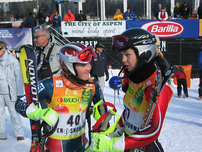 Jenny Lathrop (North Conway, NH) and Ana Kobal (SLO) compare race notes at the Sirius Satellite Radio Aspen Winternational (Nov. 26)
