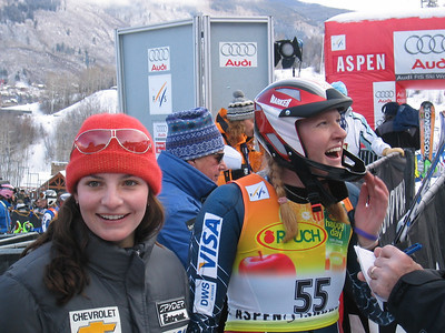 Two first time World Cup racers - Megan McJames (Park City, UT) and Laural Carter (Norwich, VT) are smiles in the finish area at the Sirius Satellite Radio Aspen Winternational (Nov. 26)