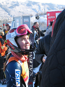 Jenny Lathrop (North Conway, NH) talks with the press following her SL run at the Sirius Satellite Radio Aspen Winternational (Nov. 26)