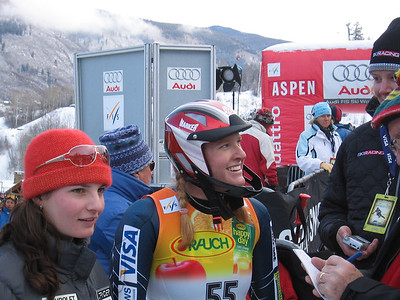 McJames (Park City, UT) and Laural Carter (Norwich, VT) are smiles in the finish area at the Sirius Satellite Radio Aspen Winternational (Nov. 26)