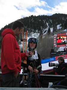 2002 Olympic snowboard bronze medalist Chris Klug (Aspen, CO) interviews Jessica Kelley (Starksboro, VT) in the finish at the Sirius Satellite Radio Aspen Winternational  GS race (Nov. 25)