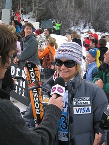 Olympic gold medalist Julia Mancuso (Olympic Valley, CA) interviews with Aspen's Plum TV in the finish following the GS race at the Sirius Satellite Radio Aspen Winternational (Nov. 25)