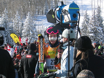 Ted Ligety (Park City, UT) speaks with Versus TV in zero degree teamperatures following the downhill portion of the super combined event at the Visa Birds of Prey race week at Beaver Creek, CO (Nov. 30).