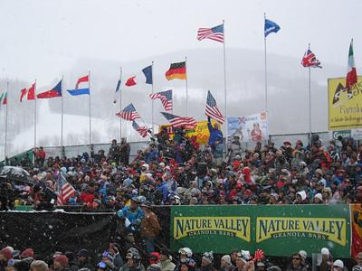 The fans cheer wildly at the Visa Birds of Prey downhill (Dec. 1)