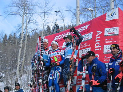 Sirius Satellite Radio giant slalom top-3 finishers at the Visa Birds of Prey race week (l to r) second place finisher Aksel Svindal (NOR), winner Max Blardone (ITA) and third place finisher Ted Ligety (Park City, UT). Dec. 2.