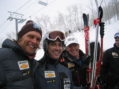 A great day! Third place finisher Stevevn Nyman (Provo, UT), eighth place finisher Scott Macartney (Redmond, WA) and tenth place finsiher Marco Sullivan (Squaw Valley, CA). Dec. 1