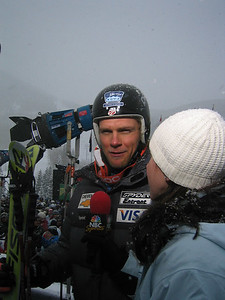 Steven Nyman (Provo, UT) talks to former teammate Jonna Mendes, now with NBC Sports following his third place finish at the Visa Birds of Prey downhill (Dec. 1)