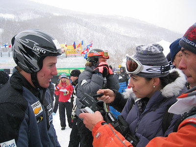 Ted Ligety (Park City, UT) talks to the media following the solo official downhill training run at the Visa Birds of Prey race week at Beaver Creek, CO (Nov. 29).
