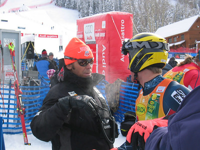 Speed Head Coach Chris Brigham and Jimmy Cochran (Keene, VT) review the downhill portion of the the super combined event at the Visa Birds of Prey race week at Beaver Creek, CO (Nov. 30).