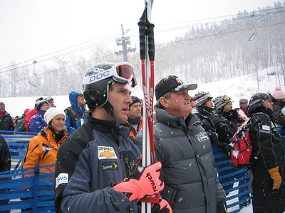 Scott Macartney (Redmond, WA) and U.S. Ski Team President and CEO watch with anticipation the final racers at the Visa Birds of Prey downhill (Dec. 1)