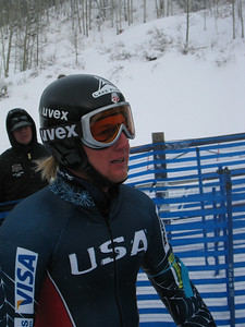 Andrew Weibrecht (Lake Placid, NY) catches his breath in the finish folowing  the sole official downhill training run at the Visa Birds of Prey race week at Beaver Creek, CO (Nov. 29).