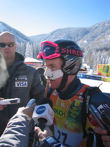 Ted Ligety (Park City, UT) speaks with the media in zero degree teamperatures following the downhill portion of the super combined event at the Visa Birds of Prey race week at Beaver Creek, CO (Nov. 30).