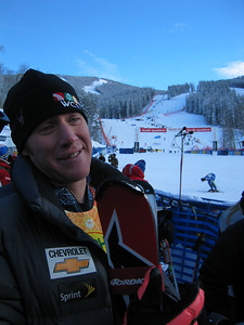 Marco Sullivan (Squaw Valley, CA) in the finish area following the super combined event at the Visa Birds of Prey race week at Beaver Creek, CO (Nov. 30).