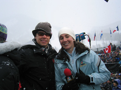 Versus' Robbie Floyd and NBC Sports' Jonna Mendes in the finish area at the Visa Birds of Prey race week (Dec. 1)
