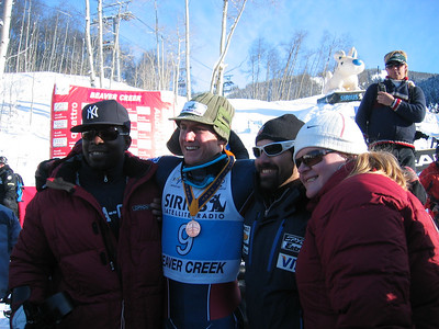 U.S. Disabled Team athletes Ralph Green (Brooklyn, NY) and George Sansonetis (Fraser, CO) and his fiance Heather with Ted Ligety (Park City, UT) following the Sirius Satellite Radio giant slalom at the Visa Birds of Prey race week (Dec. 2)