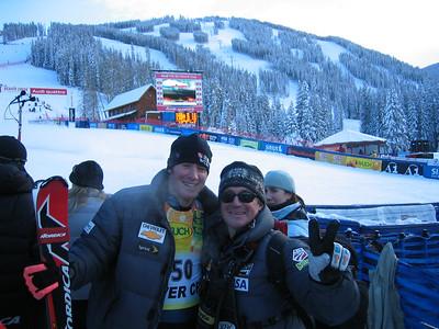"Speed speacalist Marco Sullivan and wax technician Brain ""Burnski"" Burnett in the finish area following the super combined event at the Visa Birds of Prey race week at Beaver Creek, CO (Nov. 30)."
