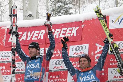 Bode Miller and Steve Nyman share the podium at Beaver Creek in the Visa Birds of Prey Downhill. Credit: Tom Kelly/U.S. Ski Team.