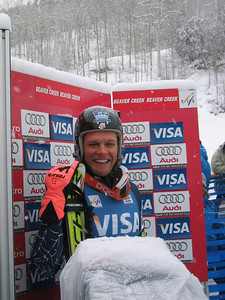 Steven Nyman (Provo, UT) enjoys the leaders spot until Switzerland's Didier Cuche came down eight racers later and was bumped to second. Teammate Bode Miller  (Bretton Woods, NH) ran 10 racers after Cuche and won the race and Nyman third (Dec. 1)