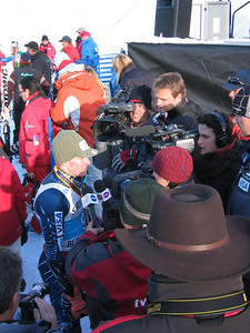 GS third place finisher Ted Ligety (Park City, UT) is surrounded by the media following the Sirius Satellite Radio giant slalom at the Visa Birds of Prey race week (Dec. 2)