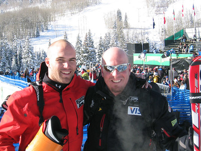 Jake Zamansky (Carbondale, CO) and ski technician Andy Buckley at the Visa Birds of Prey race week (Dec. 3)