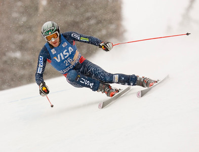 Bode Miller charges to victory on the Birds of Prey Downhill racecourse in Beaver Creek today. One time editorial use only. Credit: Jack Affleck/Beaver Creek Resort. For one-time editorial use only.